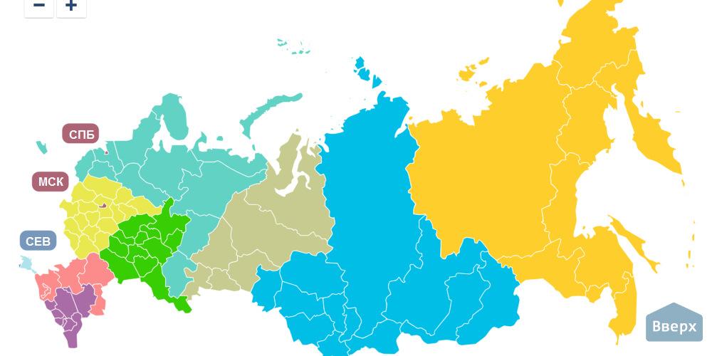 Федеральные округа россии карта