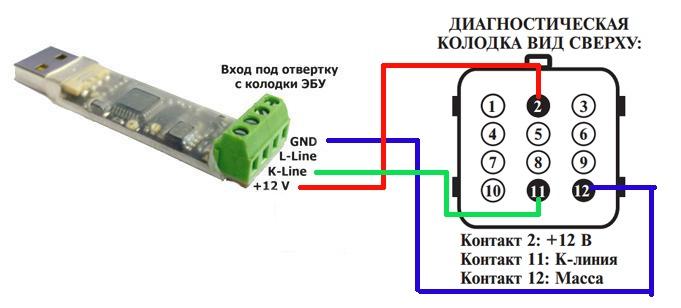 Схема соединения адаптера с