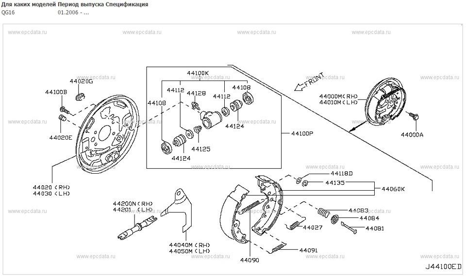 Ремкомплект задних тормозов ниссан альмера классик