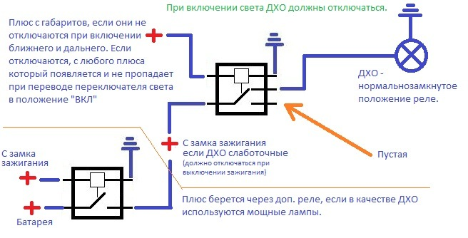 схемка подключения ДХО.