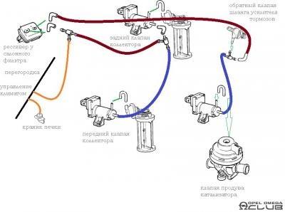 схема соединений вакуумных трубок опель омега 2.5