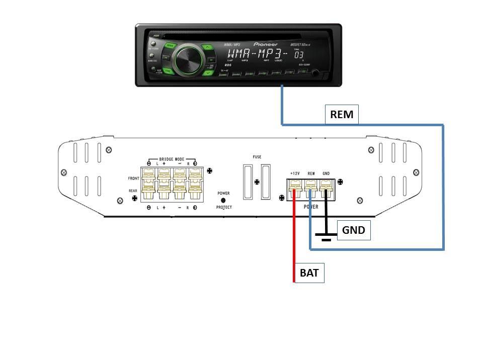 подключение провода REM,