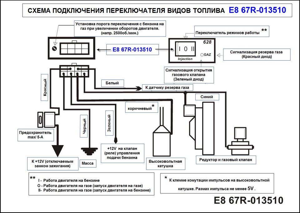 Схема подключения газового инжектора