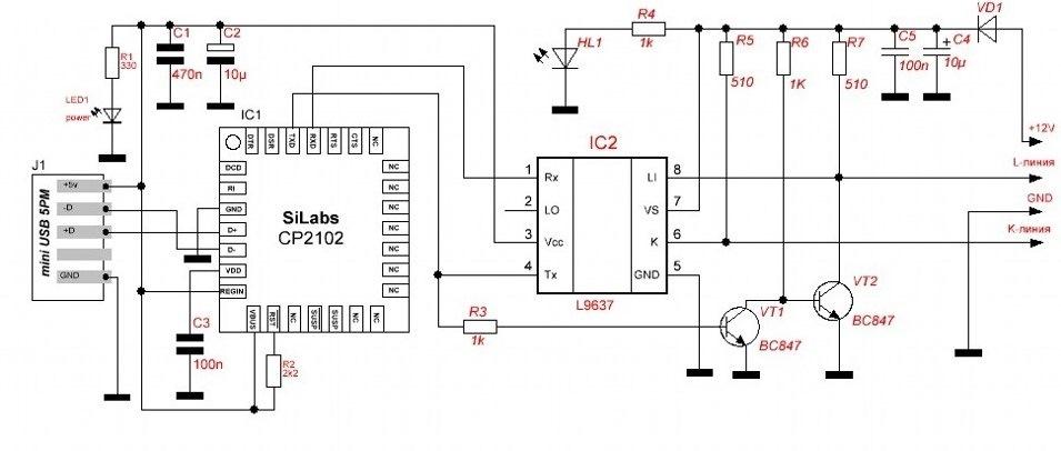 k-line адаптер на базе CP2102 и L9637D — Сообщество «Электронные