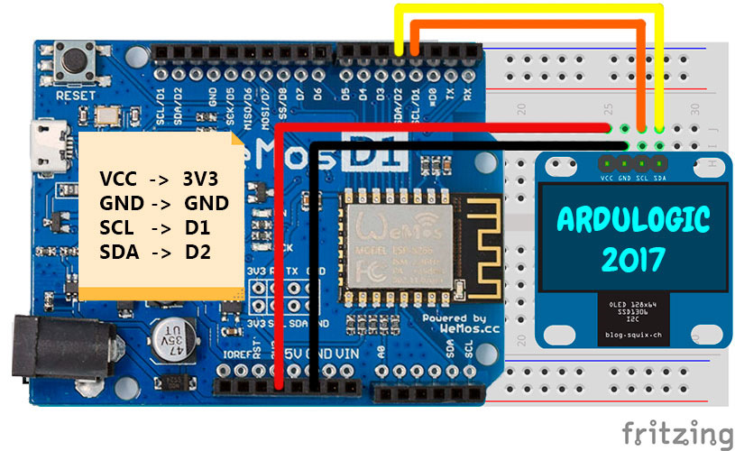 Connecting the OLED display of the SSD1306 to the Wemos D1