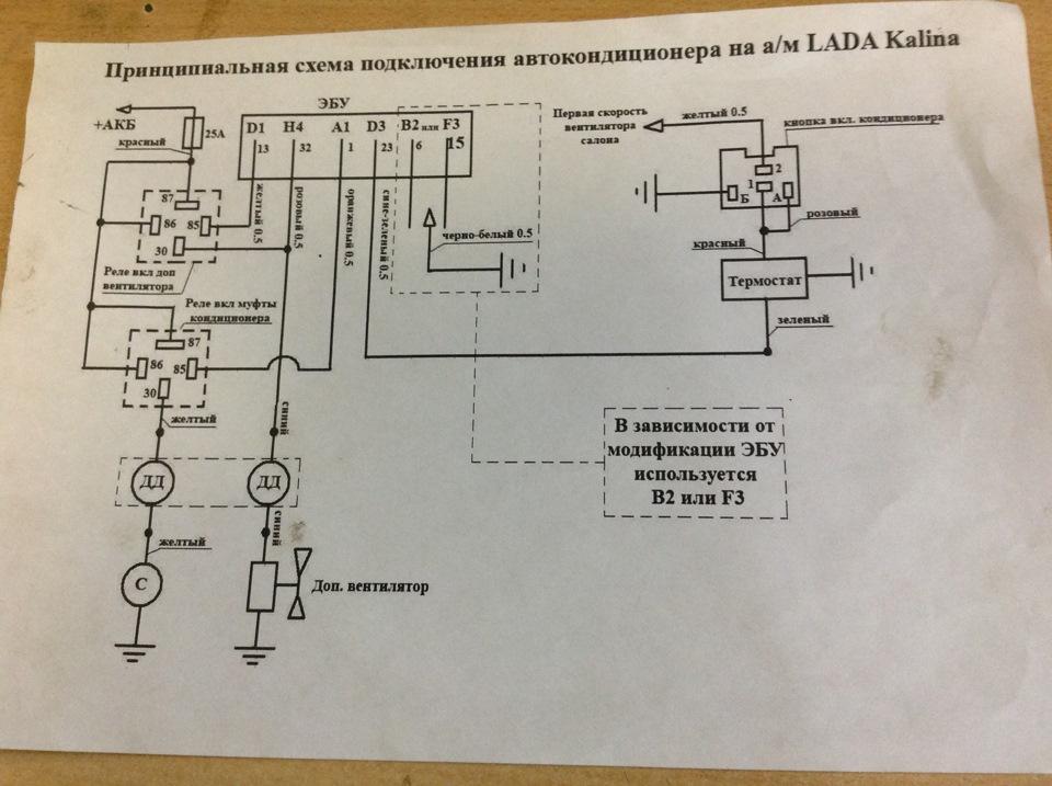 Схема кондиционера калина универсал