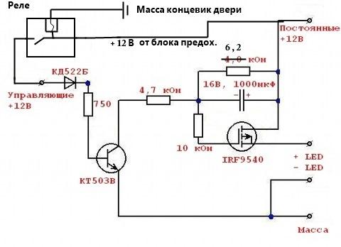 Схема подсветки салона
