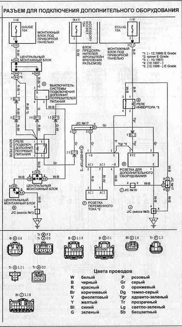 электросхема реле фар на тоета калдина