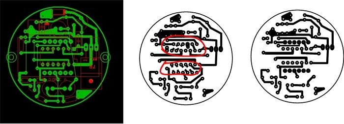 Красным показаны места под smd