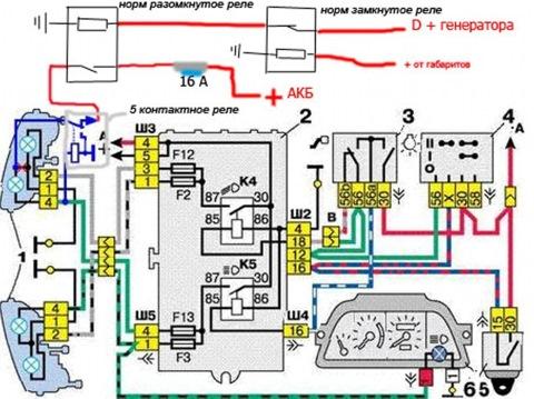 """Здесь габариты выключены, дальний выключен.  Заводим двигатель  """"+ """" от генератора проходит через Р3 на Р2."""