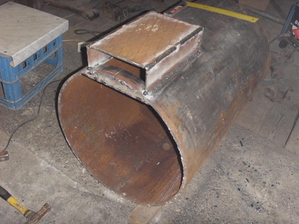 Печь для гаража из трубы 500 мм своими руками 5