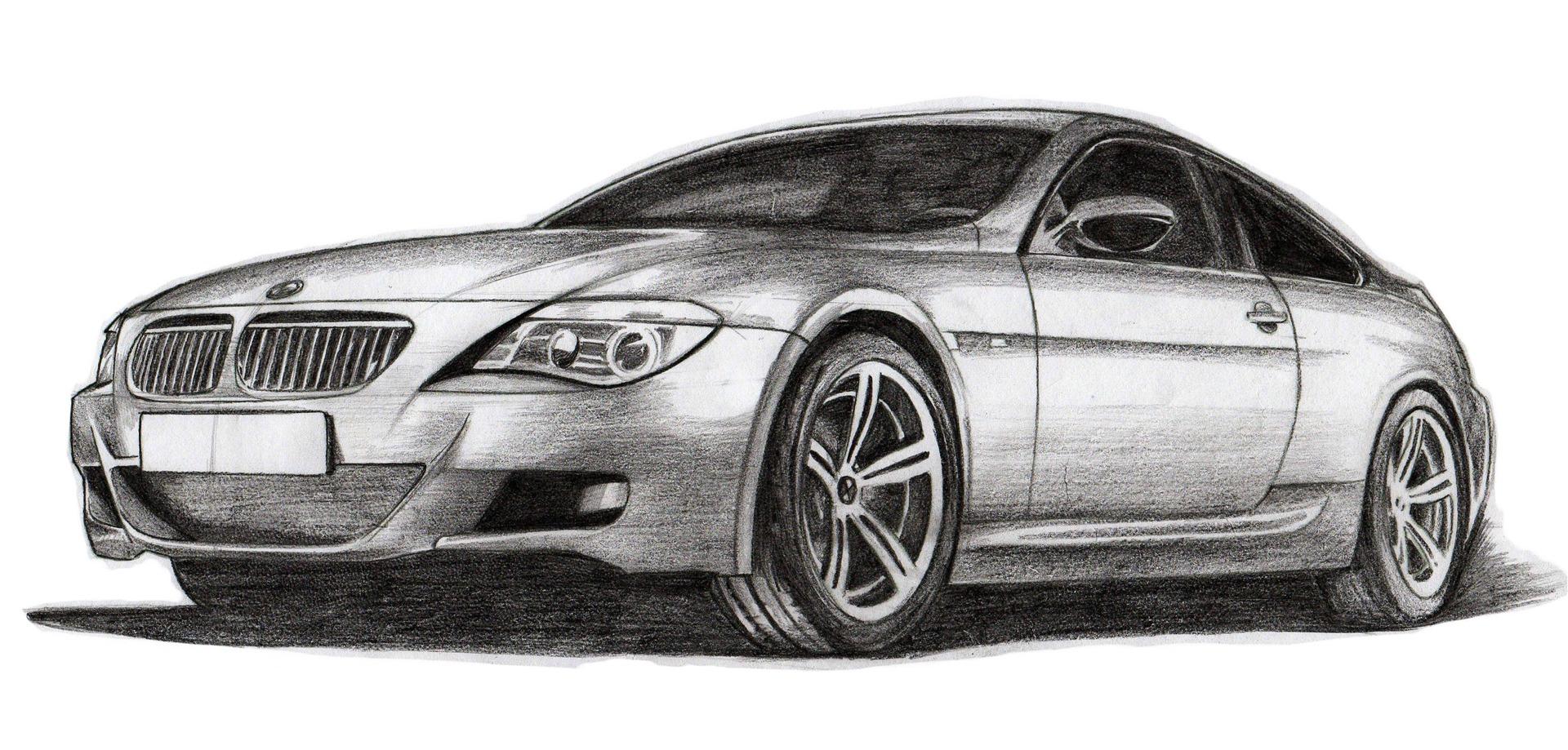 Машины нарисованные карандашом картинки