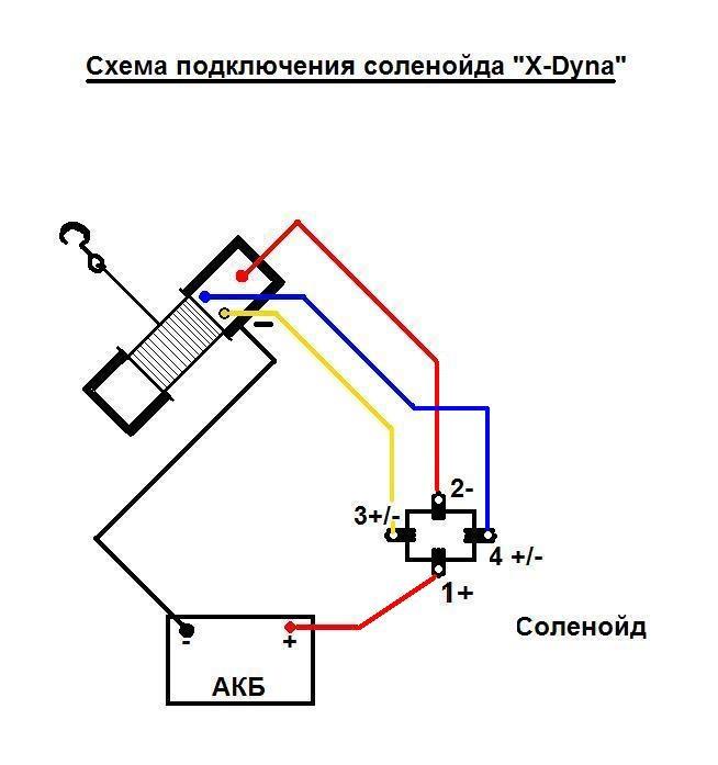 Схема подключения лебедки к