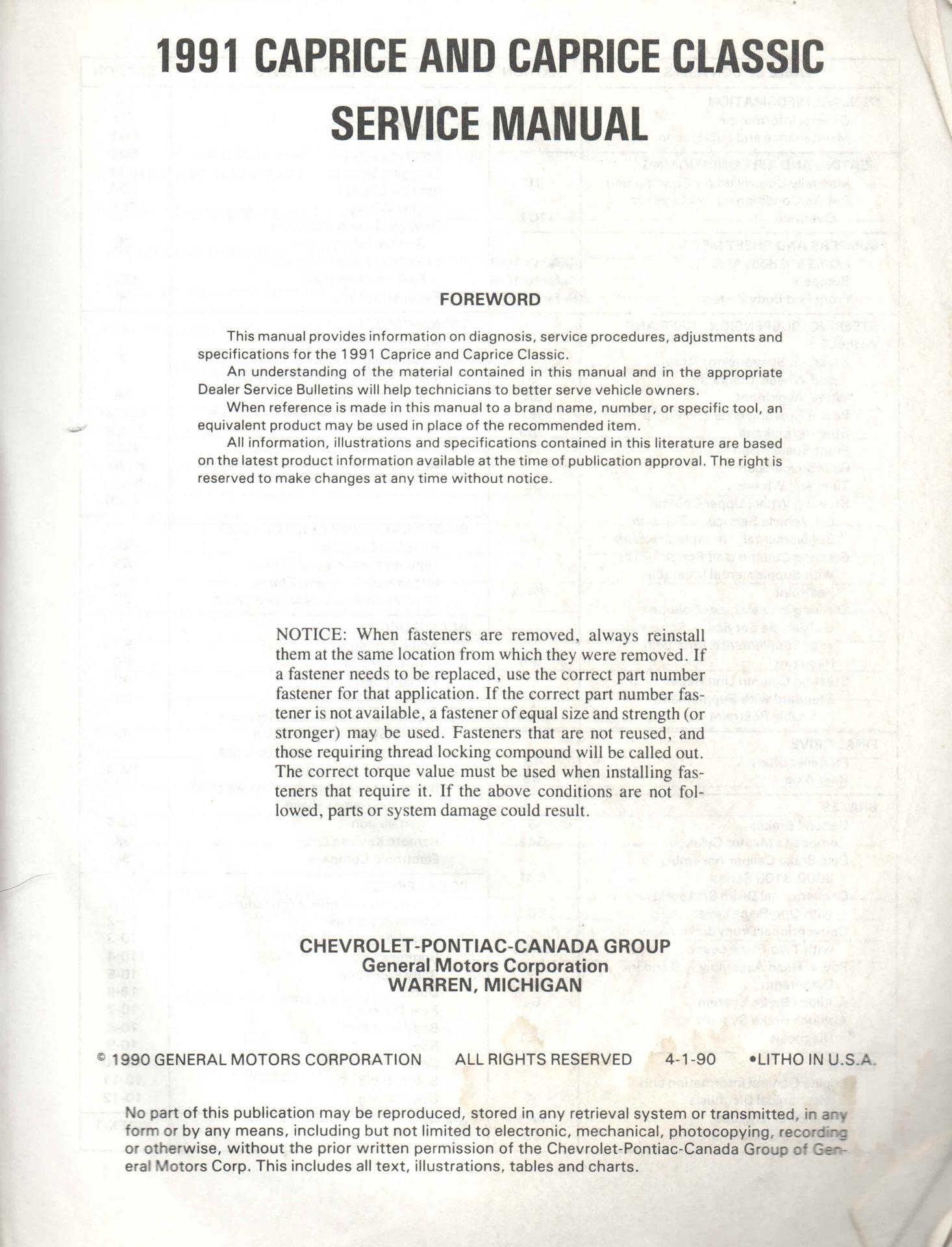 service manual  1991 chevrolet caprice service manual free