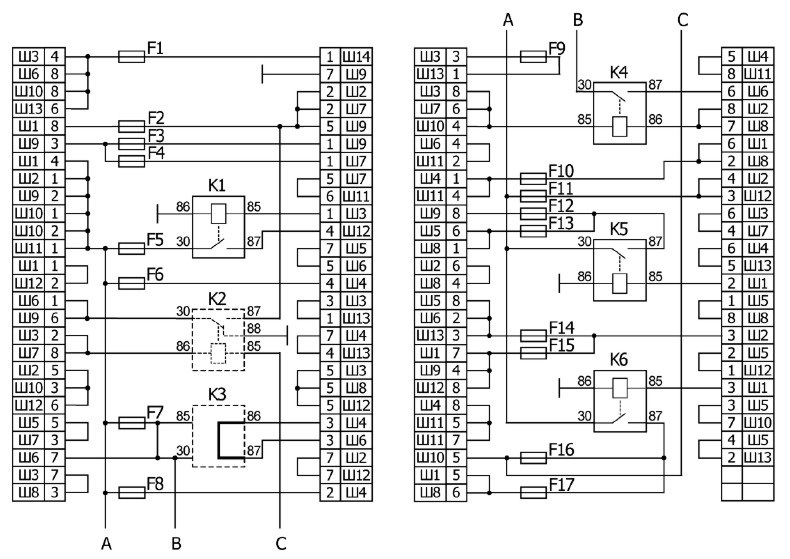Схема монтажного блока 2105.