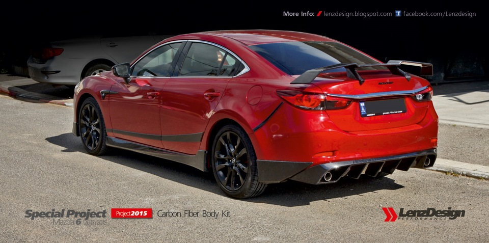 Mazda 6 carbon fiber body kit for Mazdaspeed 6 exterior mods
