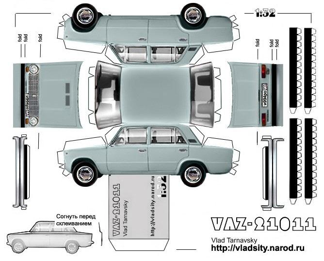 Модели машин из бумаги