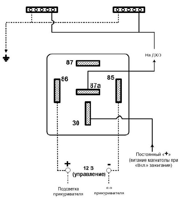 Как подключить ходовые огни на авто через реле схема