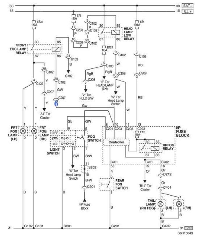 Схема головного освещения Авео