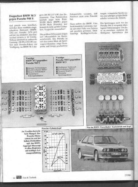 Преимущества M3 перед 944S: -Лучшие мощностные характеристики -«Крутильный» мотор -Лучшая управляемость -Хорошие ходовые качества Преимущества 944S перед М3: — Более низкий расход топлива — Хорошо уравновешенный двигатель — Более высокий уровень комфорта — Классический облик спортивного автомобиля ГБЦ Porsche / В клапанах недостатка нет: двигатель Porsche (вверху) оживает только на высоких оборотах, BMW убедительно выдает мощность во всем диапазоне Новое в 4-цил. BMW: КШМ и ГБЦ