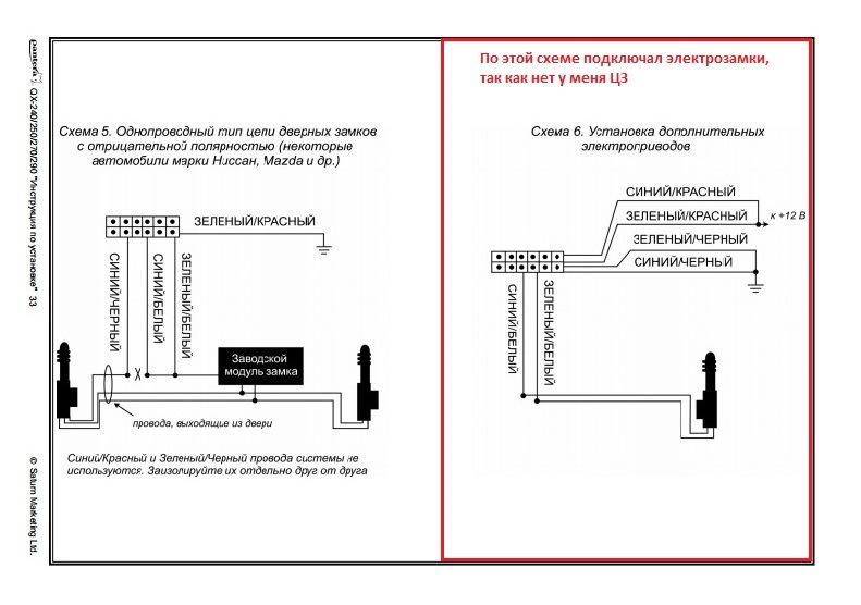 Схема подключения замков pantera