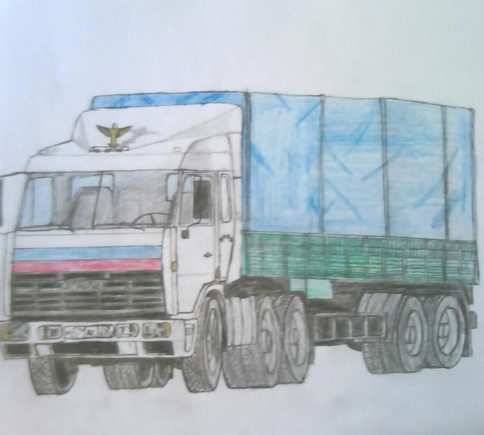 картинка дальнобойщик нарисовать