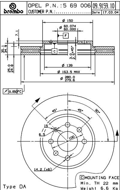 Тормозной диск Opel Brembo 09.9159.10