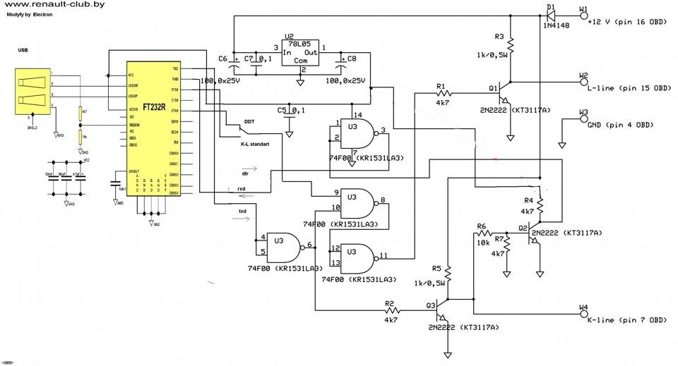 K line l line адаптер своими руками k line usb схема