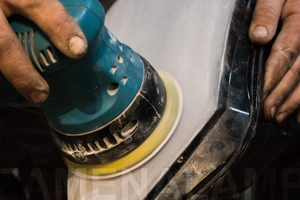 volkswagen touran Процесс шлифовки стёкол фар