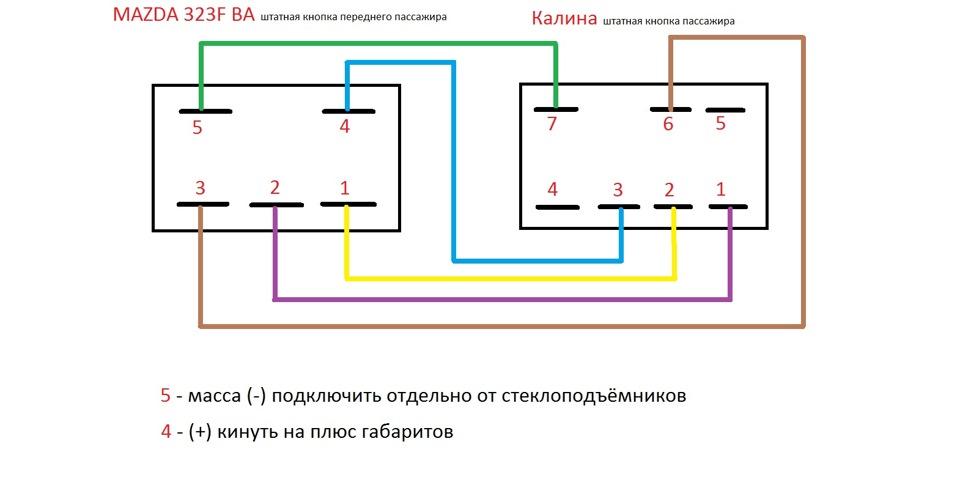 схема электростеклоподъемников на калине