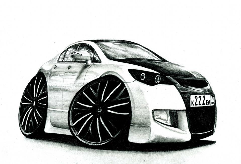 Машины прикольные картинки нарисованные