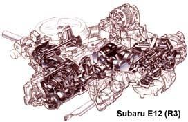 Рядный трехцилиндровый горизонтальный мотор микроавтобусов Subaru серии Е (рабочий объем — 1,0 или 1,2 л) снабжен балансирным валом