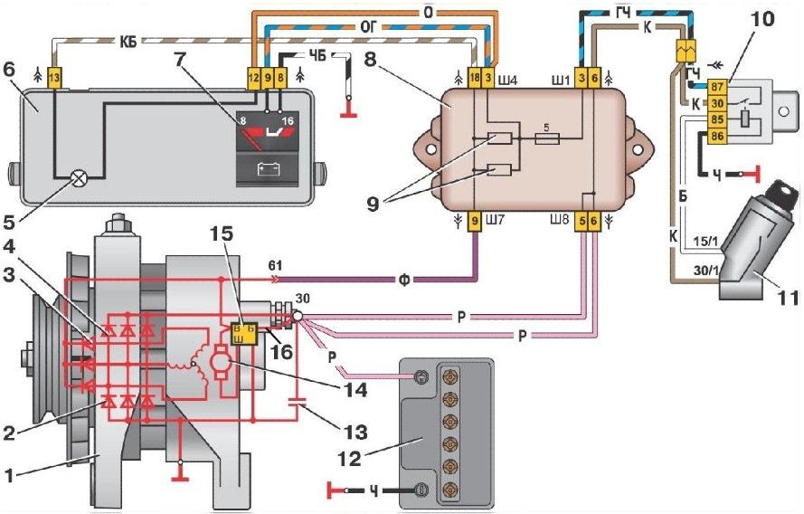 Схема зарядки ВАЗ-2108