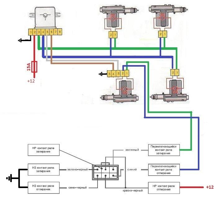 Схема центрального замка старлайн