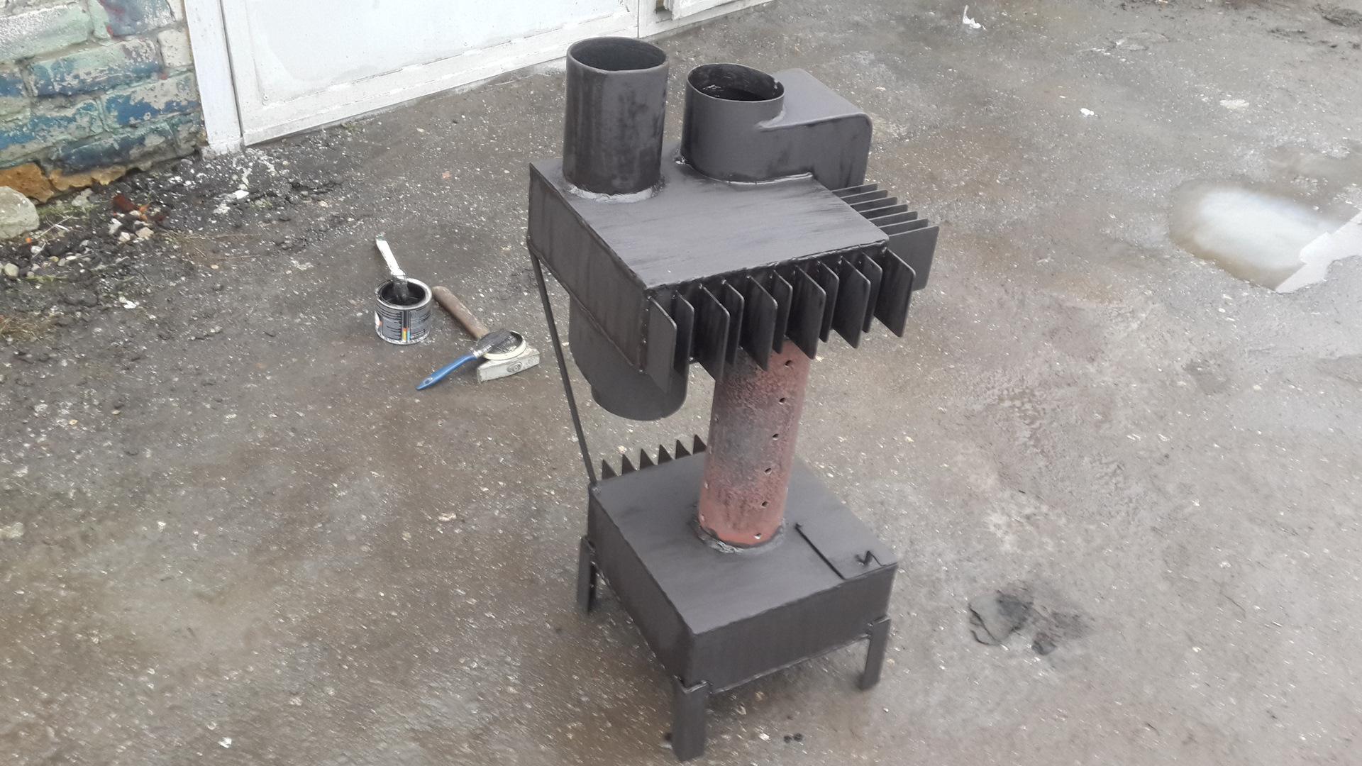 Печка на отработке своими руками фото