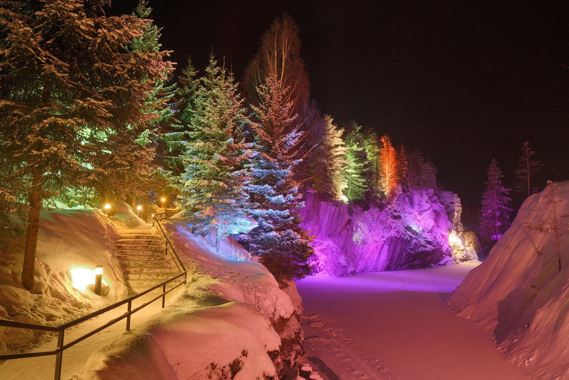 Мраморный каньон рускеала зимой фото