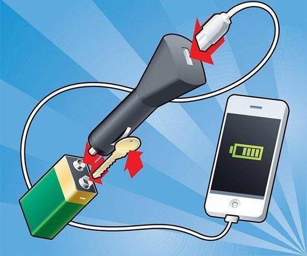 Как сделать зарядное устройство для телефона от батареек