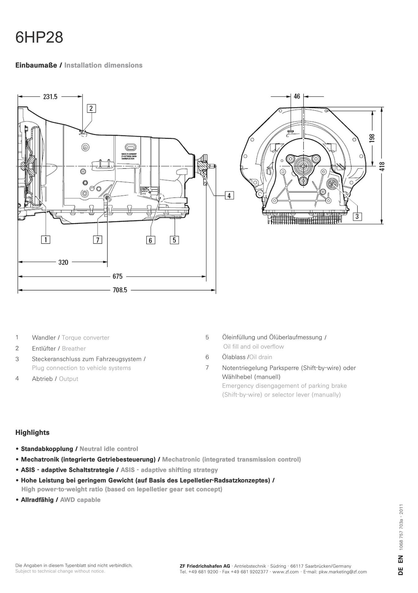 Техническая информация шестиступенчатой автоматической