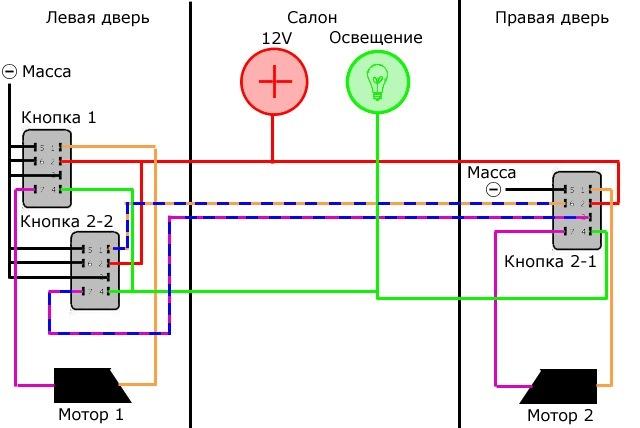 Схема подключения электро стеклоподъемников на ваз 2109