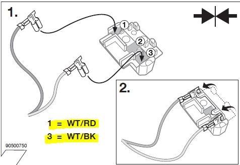 два провода вставляем в фишку
