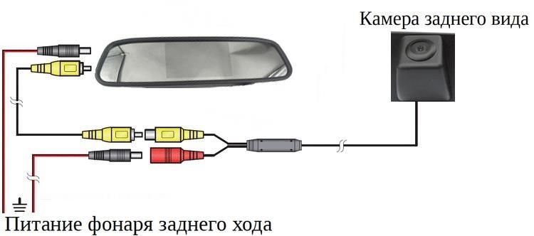100Схема подключения камеры заднего вида и зеркала монитора