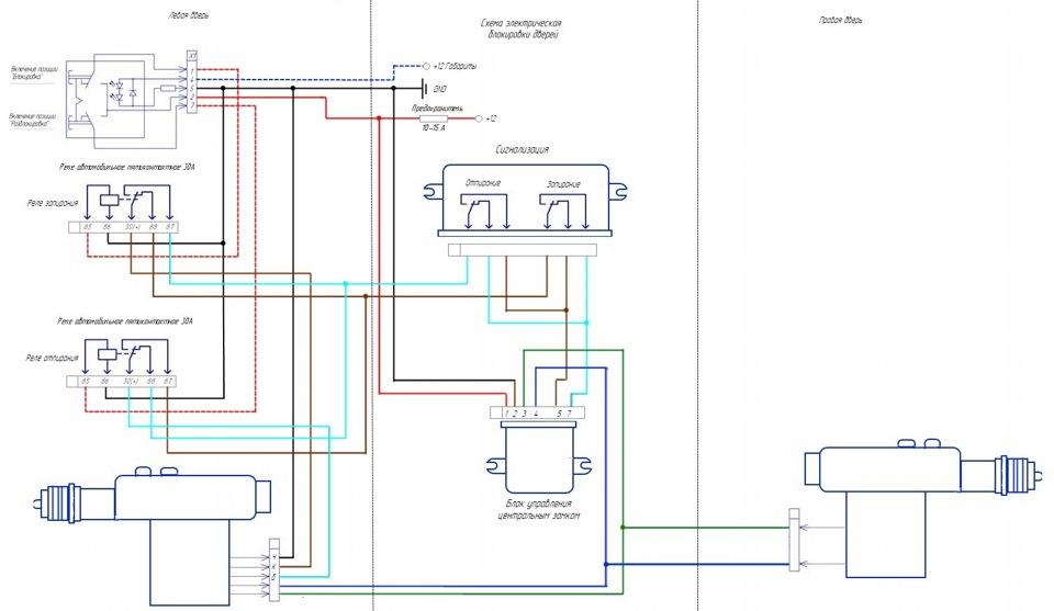 Схема подключения ЦЗ
