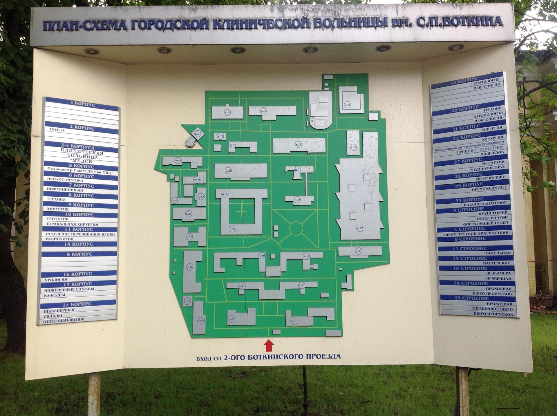 Схема боткинская больница москва