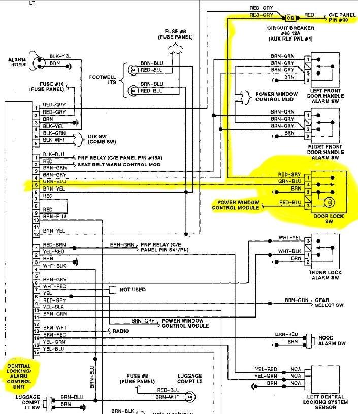 Схема подключения кнопки ЦЗ