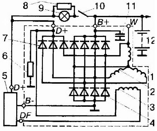 схема реле регулятора генератор volvo 740