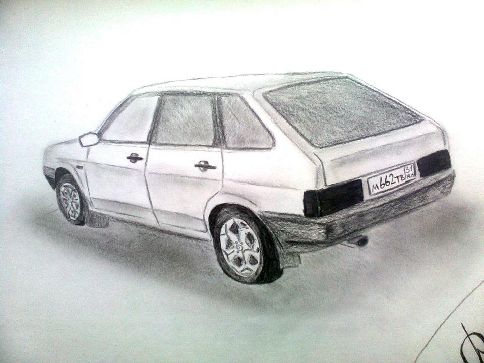 рисунки карандашом машина лада