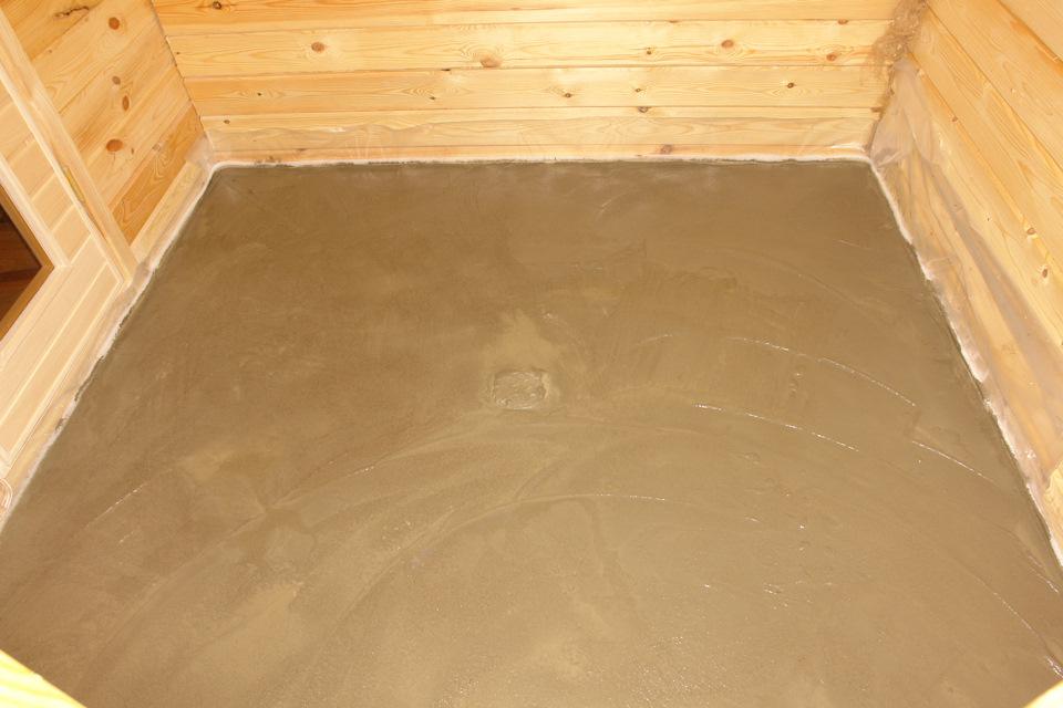 как делать пол в бане из бетона