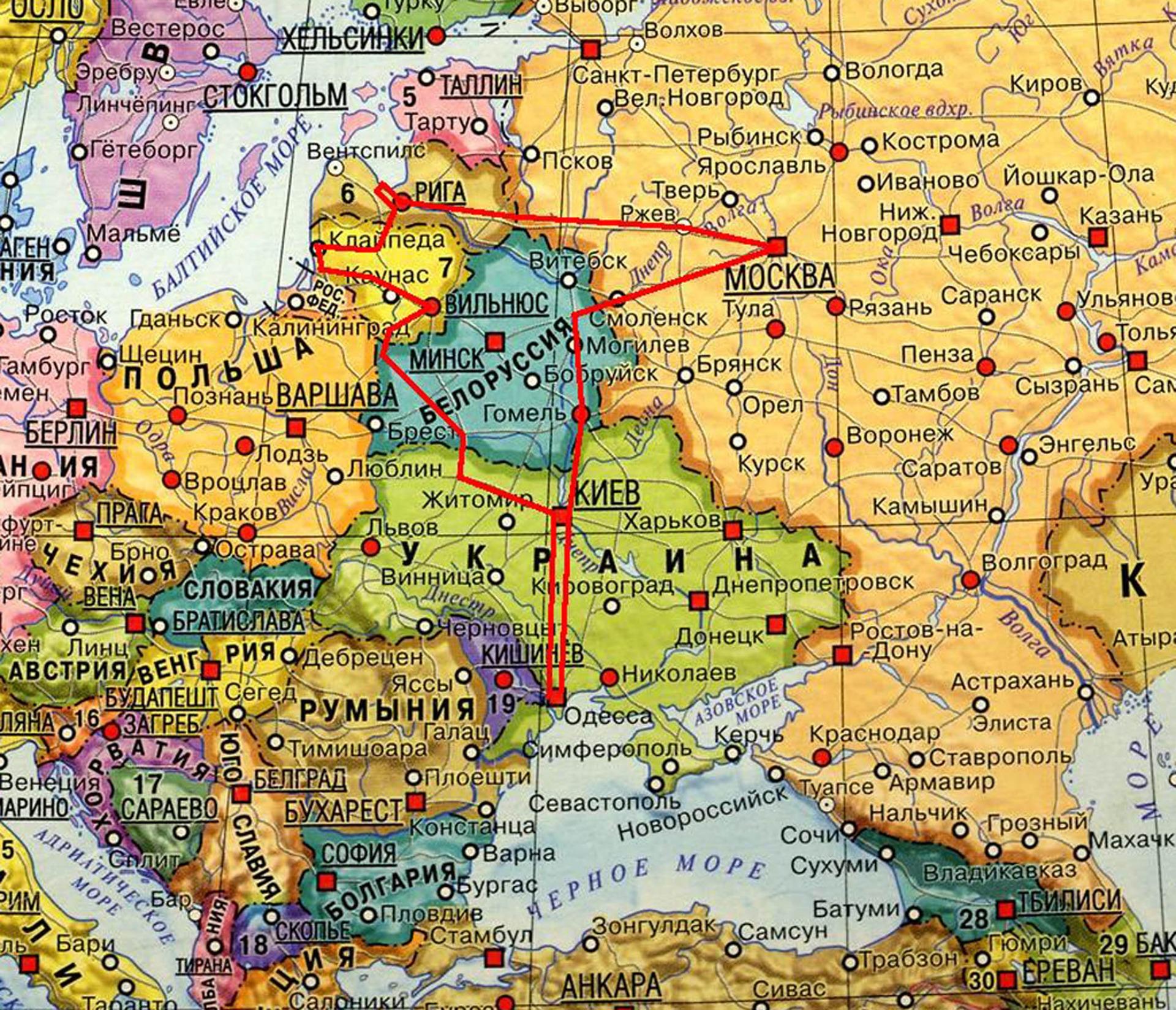 карта европы и россии - 10