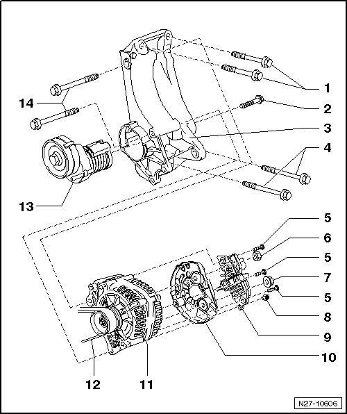 Схема крепления генератора
