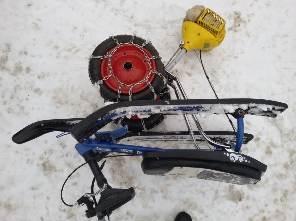 Как сделать снегокат с мотором своими руками видео